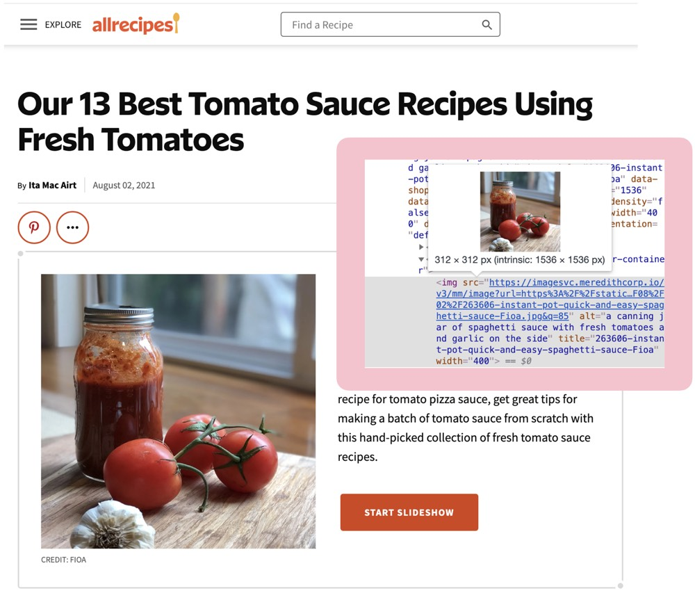 Screenshot of All Recipes website showing an image and a screenshot of the alt text that describes that image.
