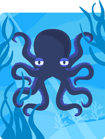 Illustration of an octopus moving around