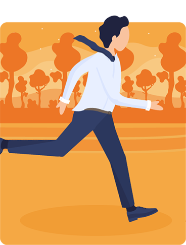 Illustration of a man jumping barriers